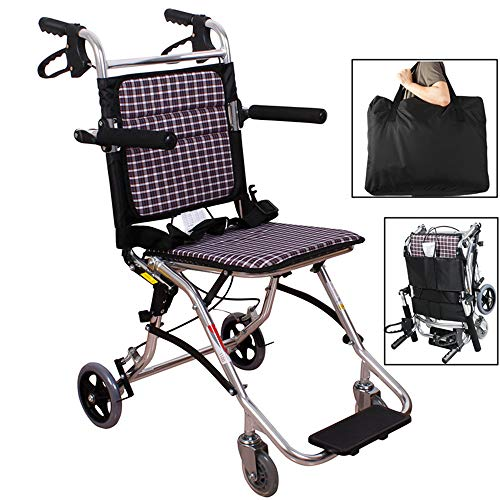 - Ultra Lightweight Transport Chair Drive Medical Nursing People Portable Folding Suitable for The Elderly, Disabled, Rehabilitation Patients Easy Transmission