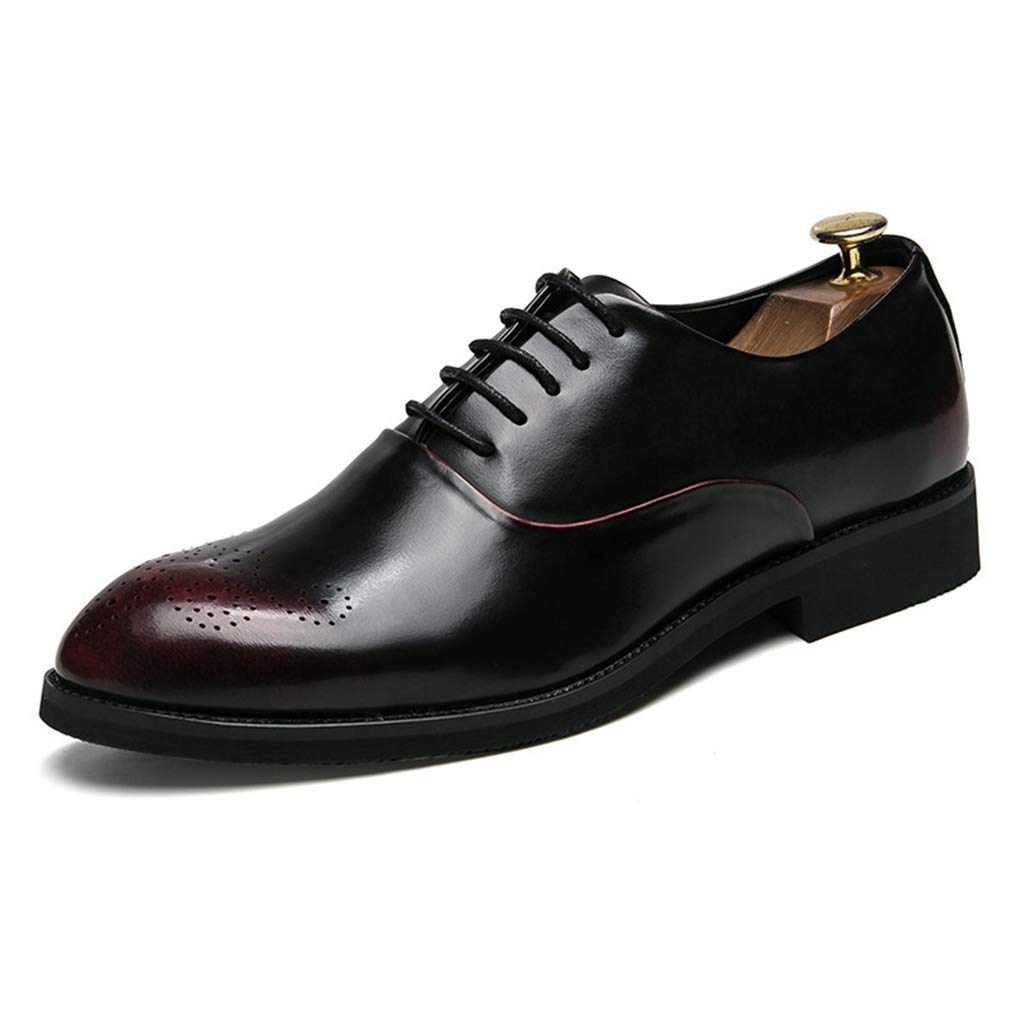 Starttwin Men's Oxford Shoes Classical Pointed Toe Lace Up Breathable Light Formal Shoes