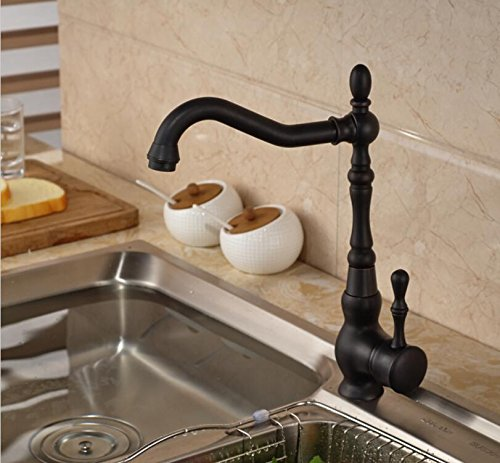 LH@ Modern Rotatable Oil Rubbed Bronze Kitchen Faucet Deck Mounted Spring Kitchen Vessel Sink Tap ()