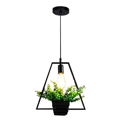 SODIAL Negro Lampara colgante de planta verde trapezoidal Arana de personalidad creativa estilo industrial retro Luz
