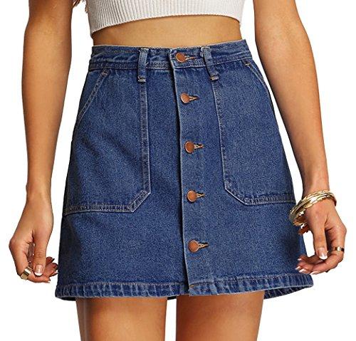 SheIn Women's Button Front Denim A-Line Short Skirt - Blue+ Small