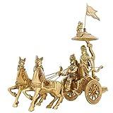 Indian Home Décor Brass Statue Lord Krishna Arjun Hanuman Horse 8 Inch,1.5 Kg