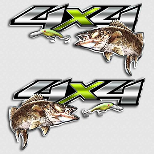Walleye Fishing 4x4 Truck Decal Chartreuse Lure Attack Sticker Set