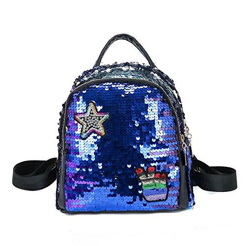 REFURBISHHOUSE Mochila de mujer Bolsas de escuela para ninas Mochilas pequenas Mochila de viaje femenina Mochilas de escuela de lentejuelas Azul: Amazon.es: ...