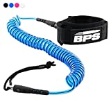 BPS 10' Ultralite Coiled SUP Leash (Double Swivels) - Blue