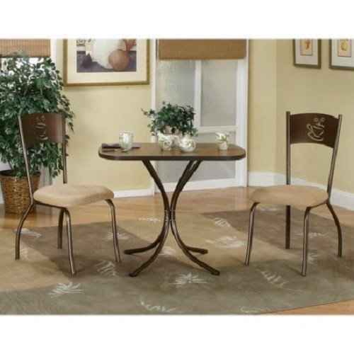 STG 3 Piece Dining Set, Two sturdy chairs framed with fully welded fronts and backs, easy care 100pct Polyester Microsuede Fabric, Durable electrostatic, Dimensions L x W x H 24.00 x 36.00 x 28.00