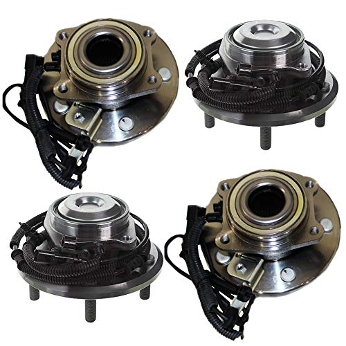 Detroit Axle - All (4) Front and Rear Wheel Bearing & Hub Assemblies for 2008 2009 2010 2011 2012 2013 2014 2015 2016 Chrysler Town & Country/Dodge Grand Caravan 2WD