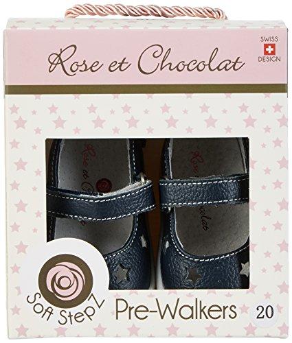 Rose & Chocolat Baby Mädchen Ballet Slippers Krabbelschuhe Blau (BALLET Slippers Navy)