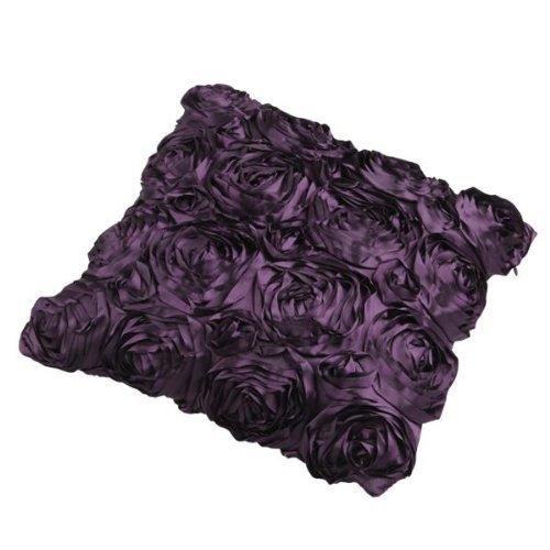 GREEN FABWOOD Purple Satin Rose Flower Square Pillow Cushion