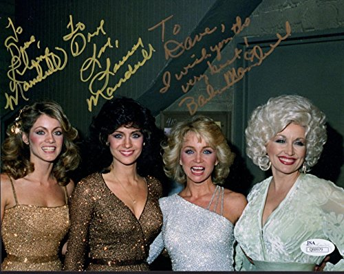 mandrell-sisters-hand-signed-8x10-color-photo-with-dolly-parton-to-dav