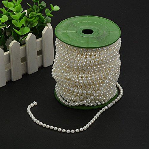 Wispun 6mm Pearl Bead Garland Spool Rope Wedding Centerpiece Decor 20M=65ft ()