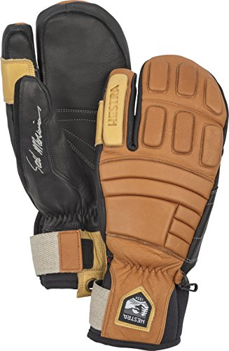 Hestra Waterproof Ski Gloves: Mens and Womens Pro Model Leather Winter 3-Finger Mitten, Cork, 9