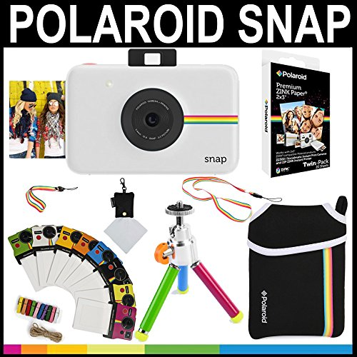 Polaroid Snap Instant Camera (White) + 2×3 Zink Paper (20 Pack) + Neoprene Pouch + Photo Frames + Accessory Bundle