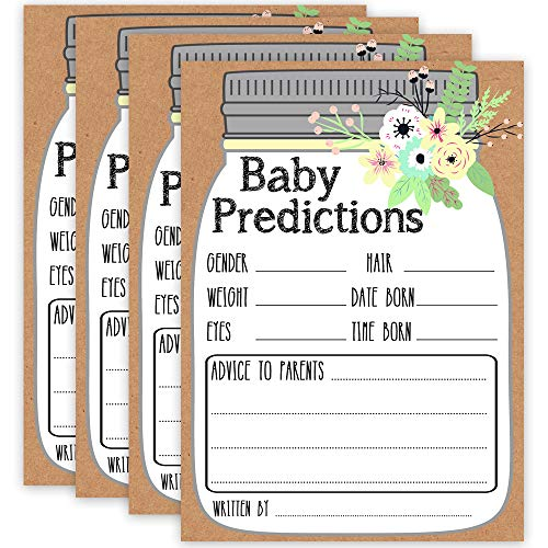 """Mason Jar Baby Prediction and Advice Cards, Baby Shower Predictions, Baby Shower Game Advice Cards for Girl or Boy, Pack or 50 Extra Large 5x7"""" Cards"""