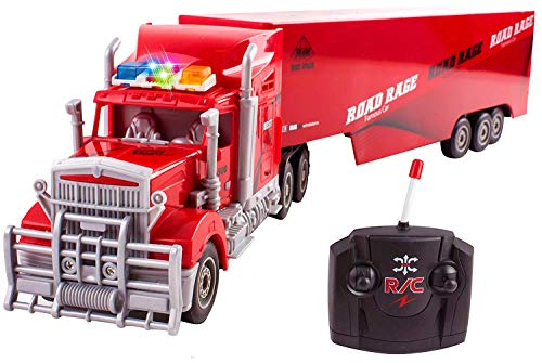 """Toy Semi Truck Trailer 23"""" Electric Hauler Remote Control RC Children's Transporter Ready to Run Full Cargo Perfect Big Rig for Kids Toys (Red)"""