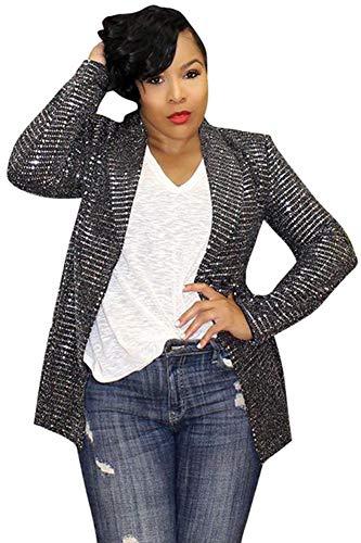 - Speedle Womens Sparkle & Shine Glitter Sequin Embellished Long Sleeve One Button Jacket Blazer Black S
