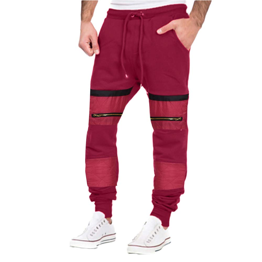 FANOUD Mens Autumn Hip Hop Joggers Patchwork Casual Drawstring Sweatpants Trouser Pants
