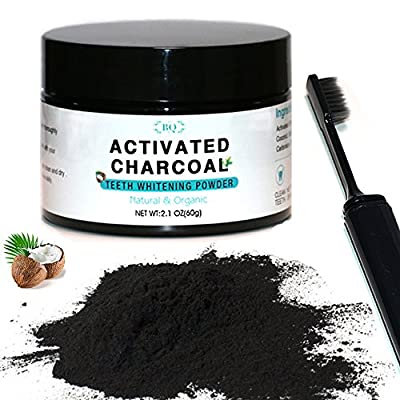 BQ Teeth Whitening Charcoal Powder Coconut Activated Charcoal Teeth Whitening Powder with Toothbrush 100% Natural Food Grade with No Sensitivity, 2.1 oz | Manufactured in Japan