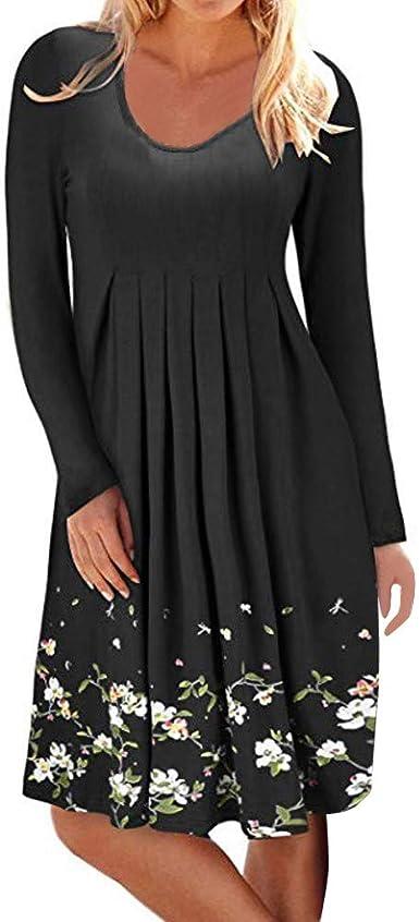 Lenfesh Camisa Larga Mujer, Vestidos Largos Mujer Flor Impresión Vestir Casual Vestido Plisado de Estampado Floral de Mujer Vestido de Cuello Redondo de Manga Larga para Mujer Vestido de Noche: Amazon.es: Ropa