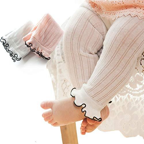 BBKidss Toddler Baby Summer Ruffle Leggings Footless Tights Little Girls Ribbed Bottom Pants 2 Pack White,Pink