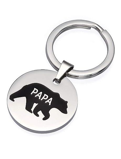 Amazon.com: Llavero de acero inoxidable con diseño de oso de ...