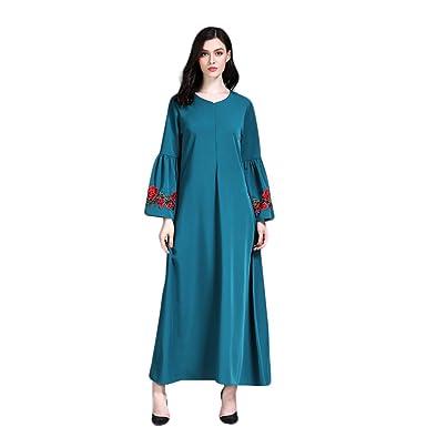 Muslimische Stickerei Langarm Kleid Tunika Abaya Dubai Kleider Damen ...