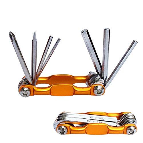 Sujing 7 in 1 Bike Tools Sets Mountain Bike Cycling Multi Repair Tool Kit Pin Key Repair Items (Gold)