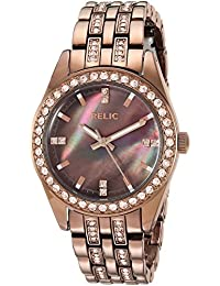 Women's Quartz Stainless Steel and Alloy Casual Watch, Color:Brown (Model: ZR34422)