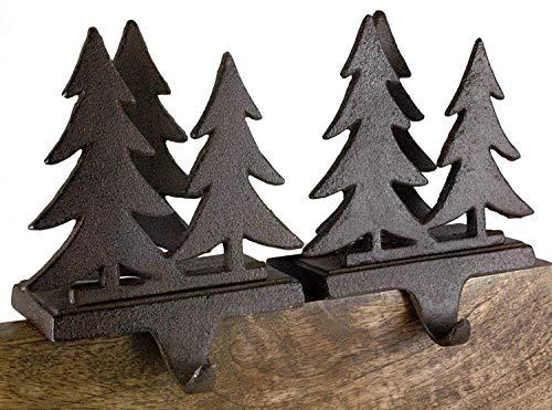 Cast Iron Pine Fir Tree Forest Christmas Stocking Holder Set of 2