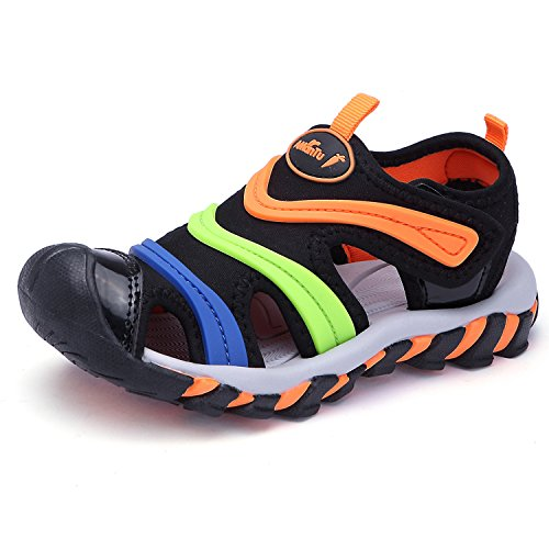 (BTDREAM Boy's and Girl's Sports Sandals Breathable Closed-Toe Summer Outdoor Velcro Athletic Beach Shoes Black Orange Size 26)