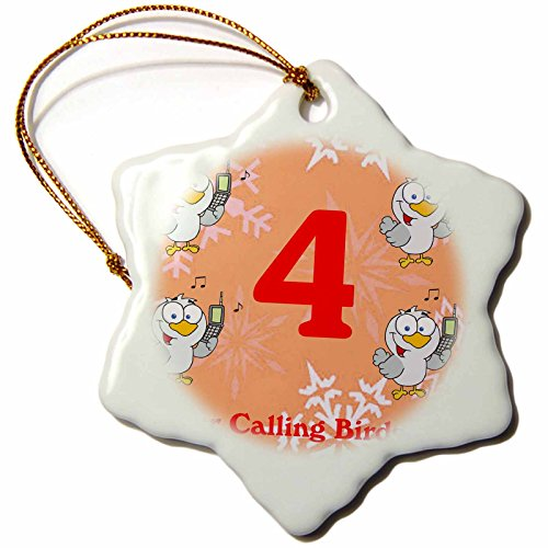 3dRose ORN_158229_1 12 Days of Christmas Four Calling Birds Snowflake Ornament, Porcelain, 3-Inch