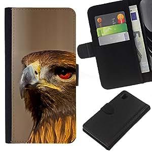 KLONGSHOP // Tirón de la caja Cartera de cuero con ranuras para tarjetas - Halcón pájaro Ornitología Naturaleza Presa Caza - Sony Xperia Z1 L39 //