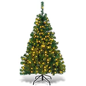 Goplus Artificial Christmas Tree Premium Spruce Hinged Tree with LED Lights and Solid Metal Stand, UL-Certified Transformer 112