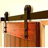 WINSOON 10/12/13/15/16FT Black Straight Design Sliding Roller Barn Single Wood Door Hardware Closet Track Kit Set (12FT Single Door Kit)