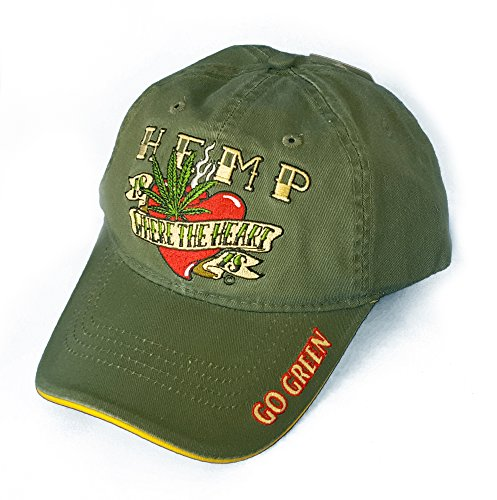 Hemp is Where the Heart Is Weed Embroidered Ball Cap Hat Cotton Blend Adjustable