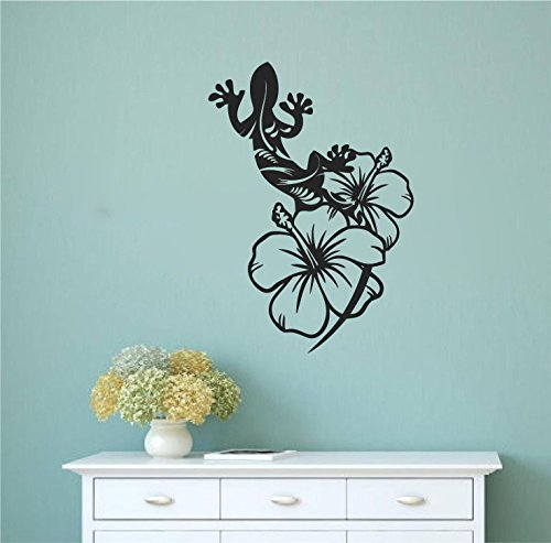 d with Hibiscus Flowers Vinyl Wall Decal Sticker Graphic ()