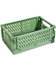 Padyrytu Collapsible Crate Plastic Folding Storage Box Basket Utility Cosmetic Container Green
