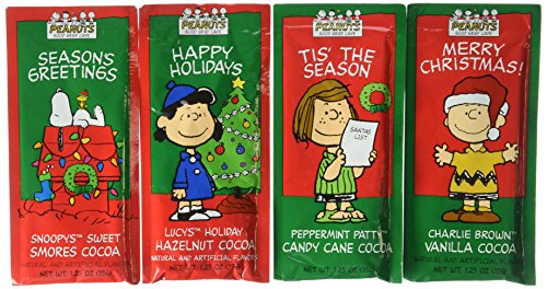 Peanuts Gang Hot Chocolate Gift Set Eight 1.25 Oz Packets Vanilla, Hazelnut, Candy Cane & Smores Cocoa Mix Great Gift Or Stocking Stuffer! Kosher Certified