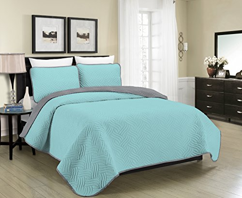 Blissful Living Reversible Luxury Pinsonic Solid Quilt Set Including Shams - Lightweight and Soft for All Year Round Comfort, Available in Twin, Full/Queen and King Size (Aqua/Grey, Full/Queen) (Aqua Quilts)