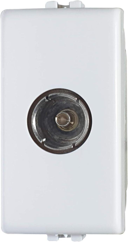 02475-F1/Matix - Toma TV hembra terminal, toma antena TV compatible Matix, blanco, 1 m, toma TV directa, fabricada en Italia