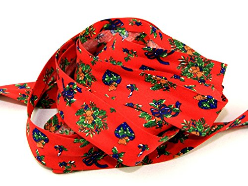 Cotton Print Teddies - 25mm Christmas Teddies Print Cotton Bias Binding Tape Red - per metre