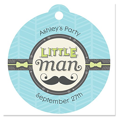 Custom Dashing Little Man - Personalized Mustache Theme Baby Shower or Birthday Party Favor Gift Tags - Set of 20 ()