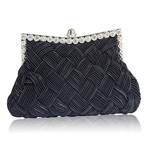TrendStar Herrlich Diamante Gewebten Brauthochzeitsabend Unterarmtasche Geldbörse Schwarz