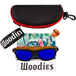 Woodies Zebra Wood Sunglasses with Blue Mirror Polarized Lens for Men and Women 13 Handmade from REAL Zebra Wood (50% Lighter than Ray-Bans) Includes FREE Carrying Case, Lens Cloth, and Wood Guitar Pick Polarized Lenses Provide 100% UVA/UVB Protection