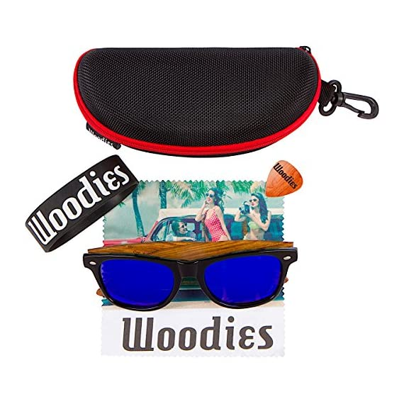 Woodies Zebra Wood Sunglasses with Blue Mirror Polarized Lens for Men and Women 4 Handmade from REAL Zebra Wood (50% Lighter than Ray-Bans) Includes FREE Carrying Case, Lens Cloth, and Wood Guitar Pick Polarized Lenses Provide 100% UVA/UVB Protection