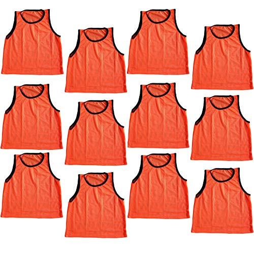 Bright Sun 12 pcs Scrimmage Vests Pinnies Soccer Youth Orange - Vests Scrimmage Vests Pinnies