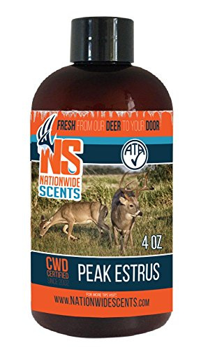 Nationwide Scents Deer Attractant Scent Lure, Purest, Fresh UNFROZEN Natural Peak Estrus Whitetail Deer Urine, Doe in Estrus Scent, 4 oz …