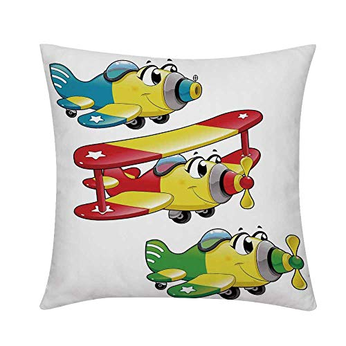 (Kids Boys and Girls Room Decor Square Throw Pillow,Airplanes Plane Jet Cartoon Aircraft Flying Childrens Decor Decorative for Couch Sofa,S (16