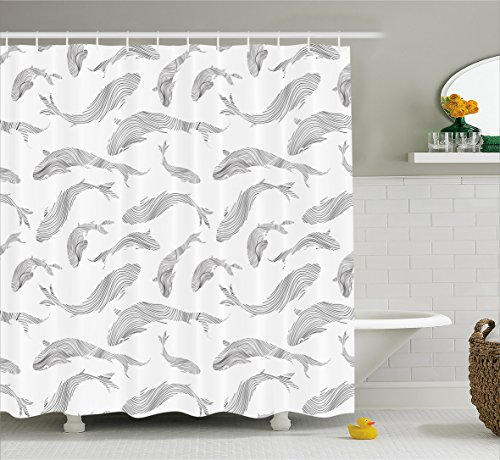 Ocean Animal Decor Shower Curtain by Ambesonne, Minimalist Fish Pattern with Stripes Fauna Tail Handdrawn Nautical Theme, Fabric Bathroom Decor Set with Hooks, 70 Inches, Grey White