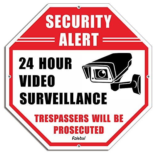 Security Sign,Faittoo 24 Hour Video Surveillance sign,Octagon 12